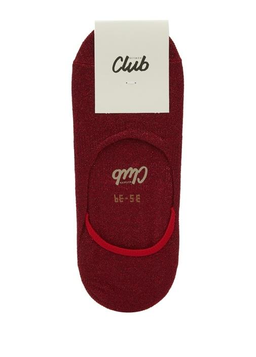 Kırmızı Sim Dokulu Kadın Çorap