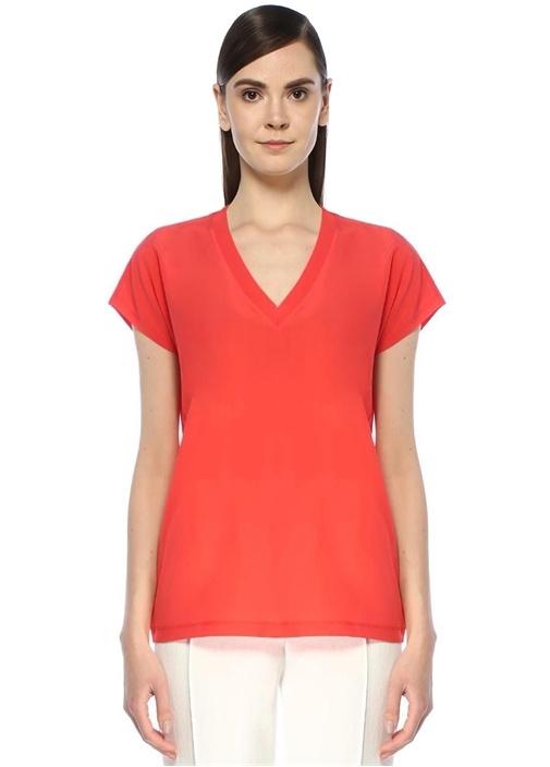Mercan V Yaka İpek Garnili Basic T-shirt