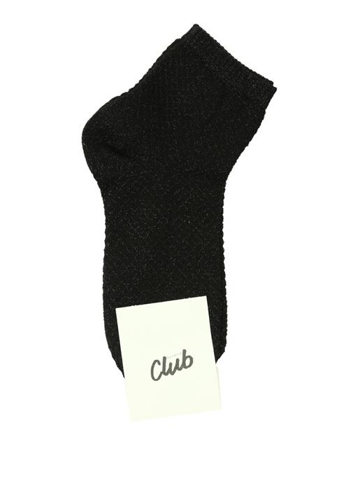 Siyah Logo Jakarlı Sim Dokulu Kadın Çorap