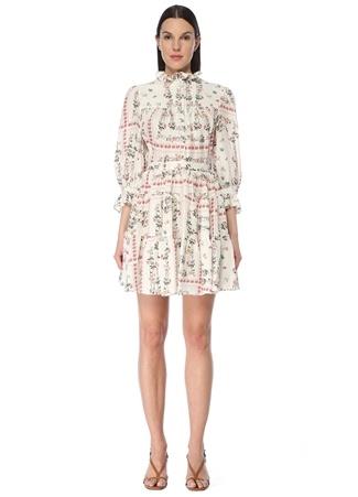 Etro Kadın Beyaz Dik Yaka Çiçekli Fırfırlı Mini İpek Elbise 42 IT
