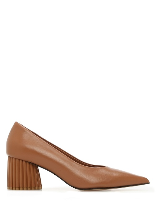 Taba Deri Topuklu Ayakkabı
