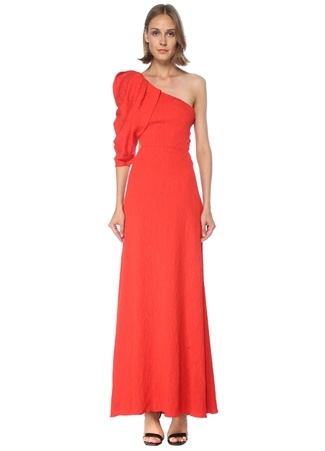 Johanna Ortiz Kadın Kırmızı Tek Omuz Balon Kollu Midi Elbise 8 US