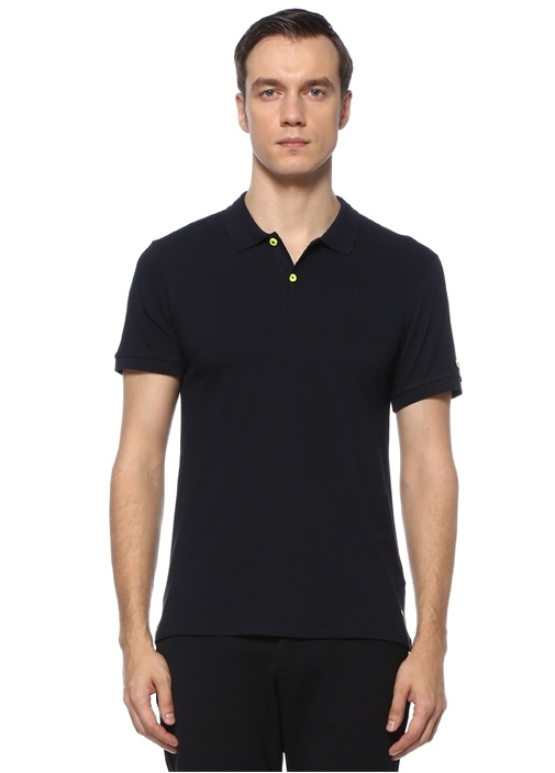 Slim Fit Lacivert Kabartmalı Polo Yaka T-shirt