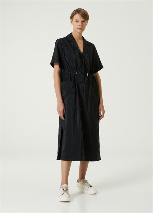 Siyah Beli Büzgülü Midi Elbise