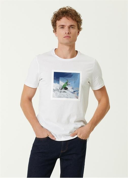 Beyaz Kayakçı Baskılı T-shirt