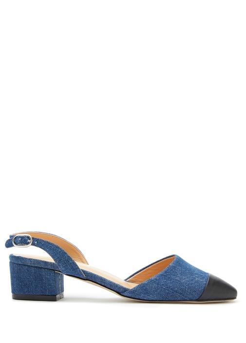 Lacivert Jean Dokulu Topuklu Ayakkabı