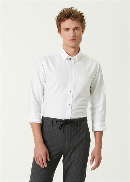 Slim Fit Beyaz Logo Detaylı Oxford Gömlek