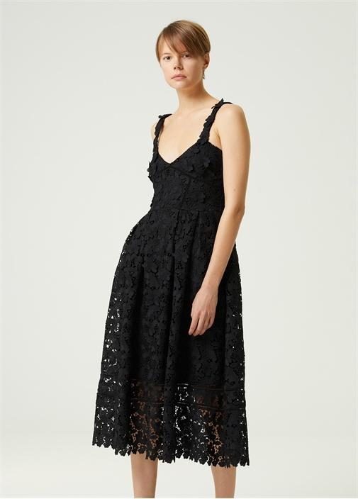 Siyah V Yaka Midi Dantel Elbise