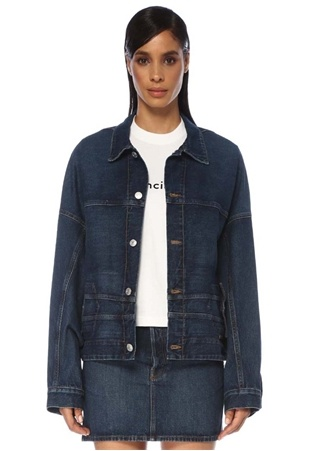 Balenciaga Kadın Upside Down Sırt Detaylı Jean Ceket Mavi 40 FR