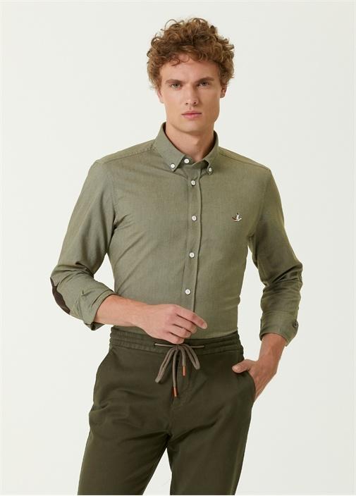 Slim Fit Haki Süet Garnili Oxford Gömlek