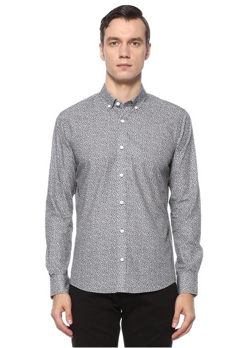 Slim Fit Gri Üçgen Baskılı Gömlek