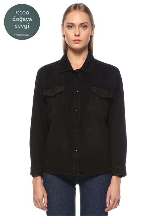 Siyah Cep Detaylı Geniş Jean Gömlek