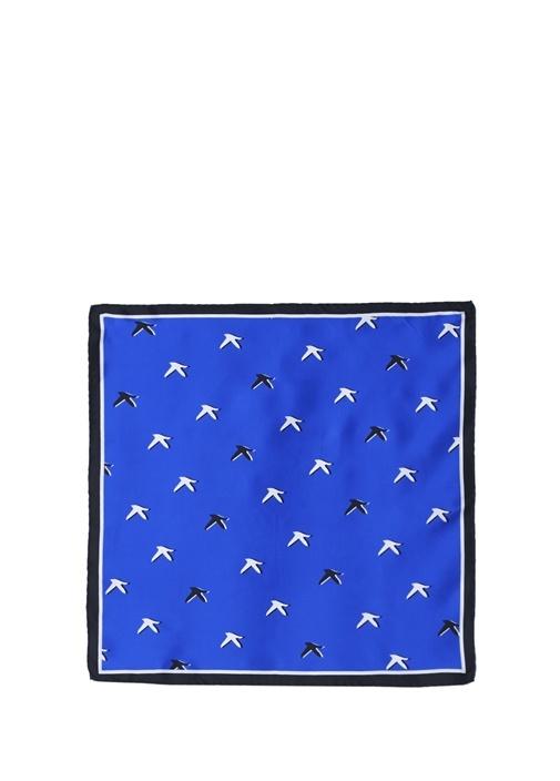 Saks Kuş Desenli 50x50 cm Kadın İpek Eşarp