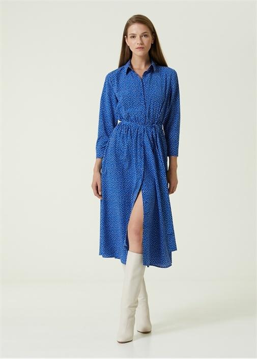 Mavi Puantiyeli Midi İpek Gömlek Elbise