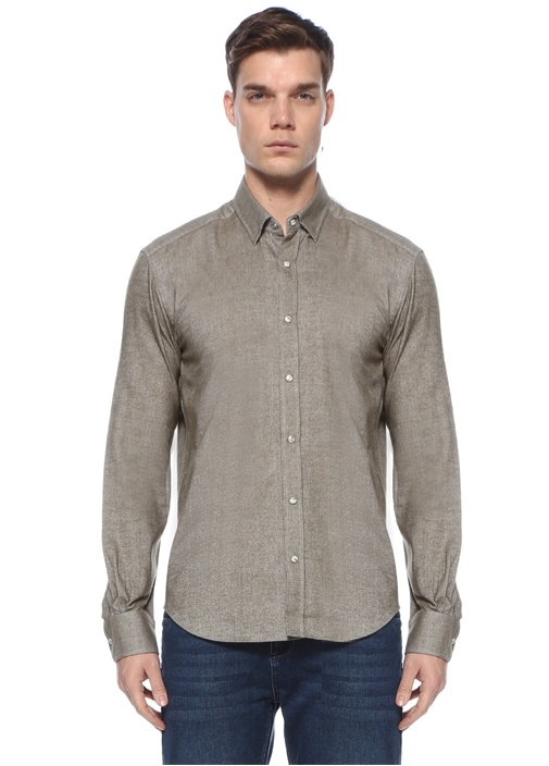 Comfort Fit Haki Polo Yaka Oxford Gömlek