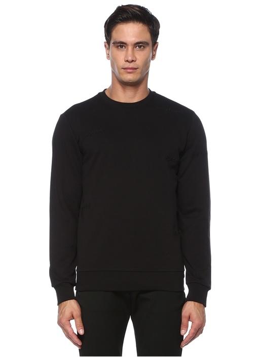 Siyah Slogan Nakışlı Basic Sweatshirt