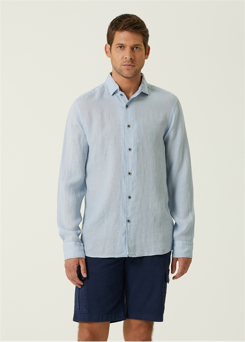 Slim Fit Mavi İtalyan Yaka Keten Gömlek