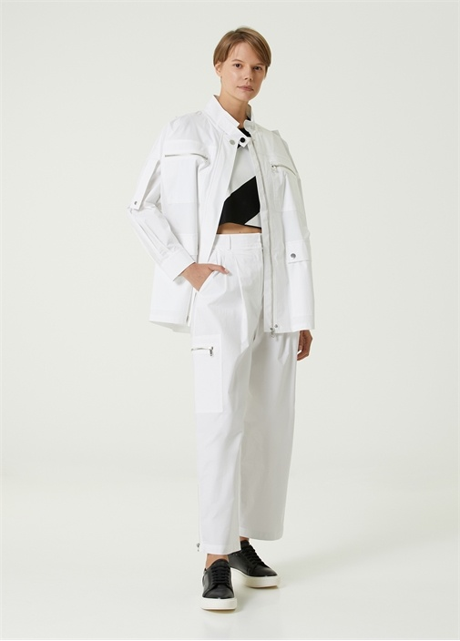 Beyaz Pilili Kargo Pantolon