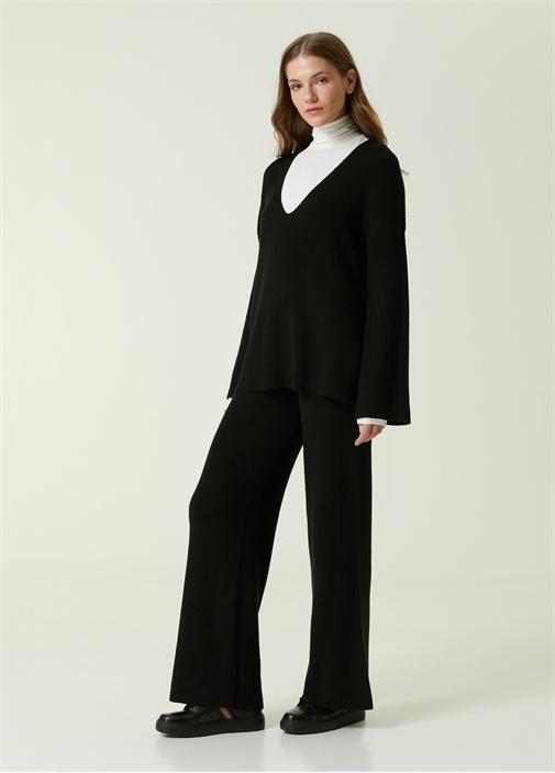 Siyah Ribli Triko Pantolon