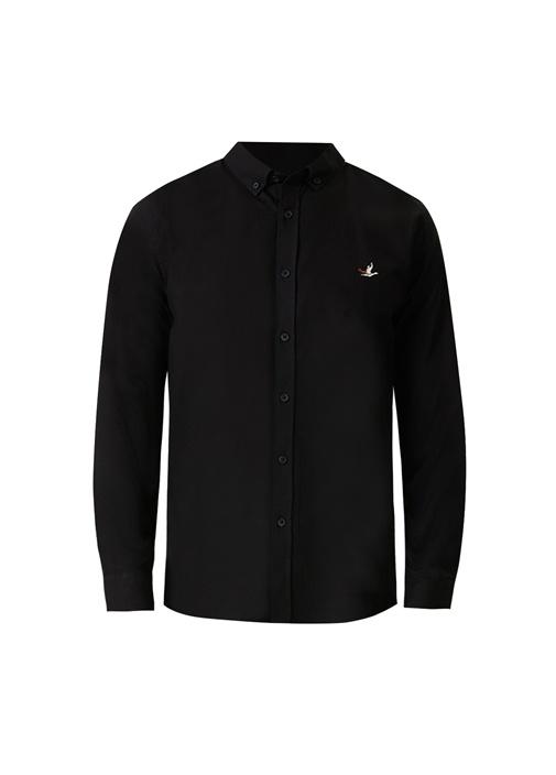 Slim Fit Siyah Düğmeli Yaka Oxford Gömlek