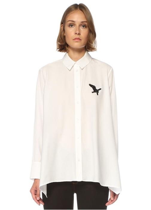 Beyaz Kuş İşlemeli Gömlek