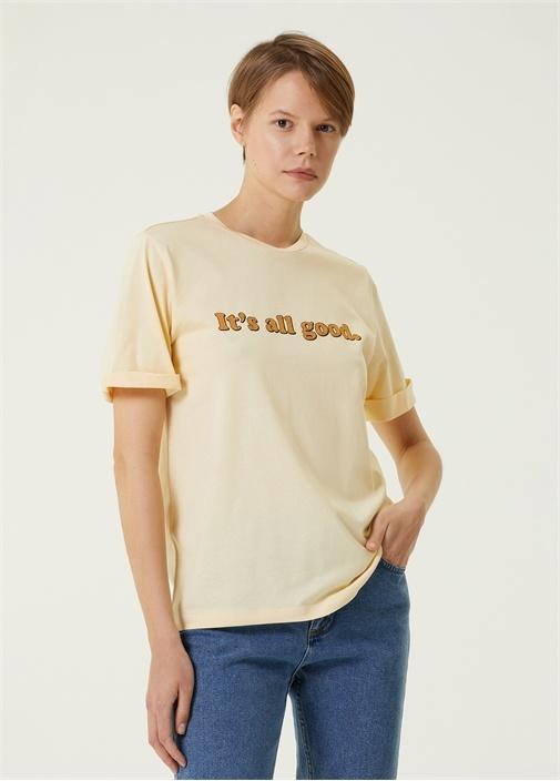 Ekru Bisiklet Yaka Baskılı T-shirt