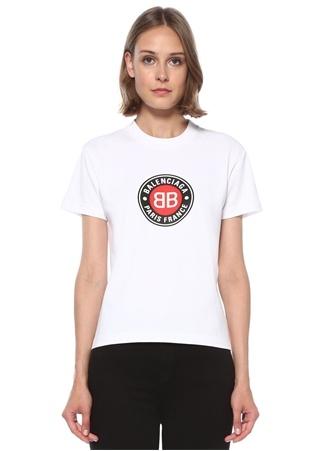 Balenciaga Kadın Beyaz Logo Baskılı Basic T-shirt S EU