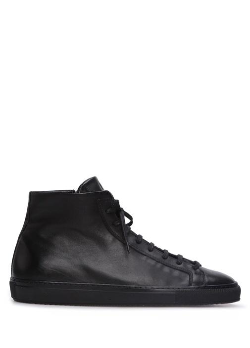 Siyah Bilek Boy Erkek Deri Sneaker