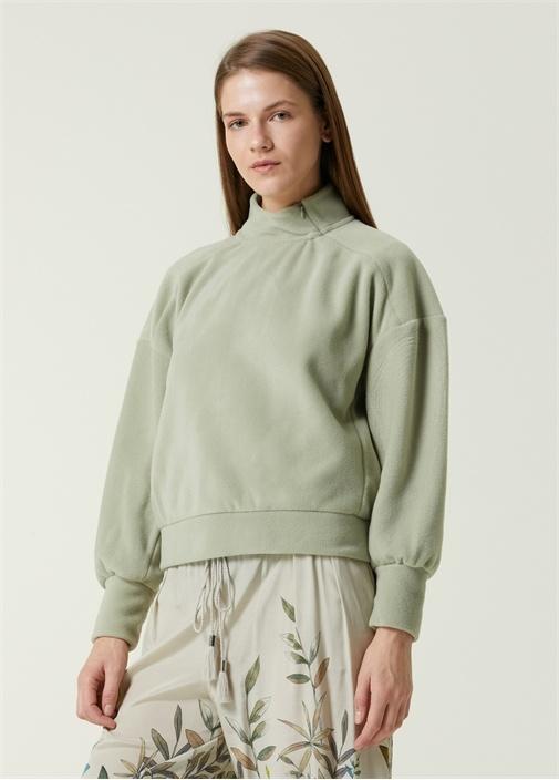 Mint Dik Yaka Polar Sweatshirt