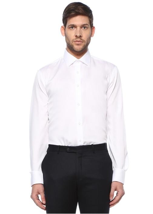 Comfort Fit Beyaz Armürlü Non-Iron Gömlek