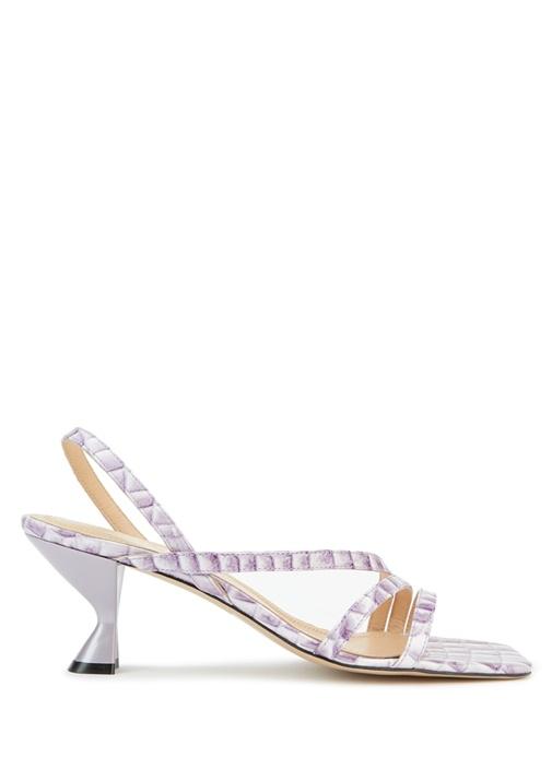 Lila Krokodil Dokulu Kadın Sandalet