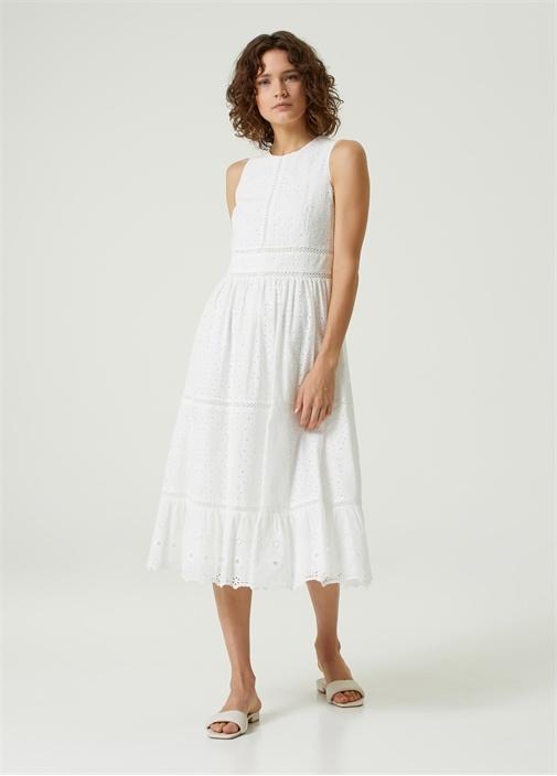 Beyaz Nakışlı Kolsuz Midi Elbise