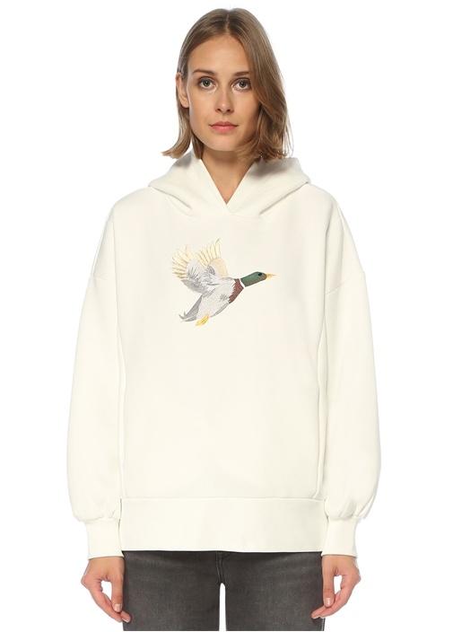 Oversize Beyaz Kapüşonlu Kuş Nakışlı Sweatshirt