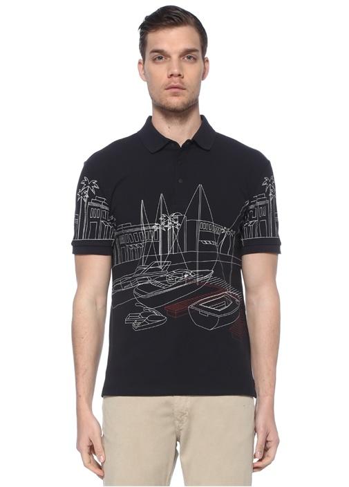 Slim Fit Lacivert Polo Yaka Marina Baskılı T-shirt