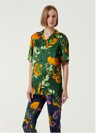 Dries Van Noten Kadın Yeşil Çiçekli Kısa Kol Gömlek 36 FR