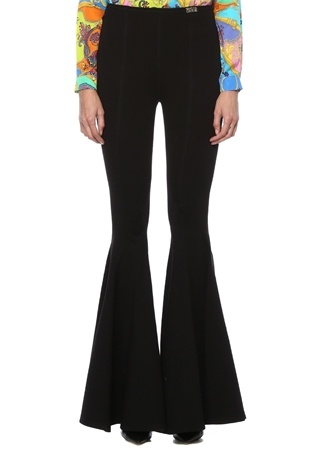 Versace Jeans Couture Kadın Siyah Normal Bel Paçaları Volanlı Pantolon 38 IT