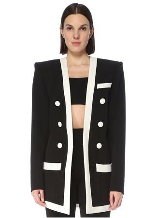 Balmain Kadın Siyah Beyaz Şal Yaka Ceket 36 FR