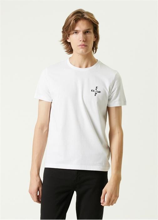 Beyaz Kuş Logo Baskılı T-shirt