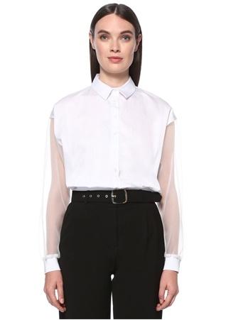 Network Kadın Beyaz Kolu Tül Garnili Gömlek S EU