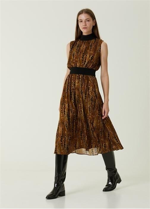 Haki Dik Yaka Yılan Desenli Midi Elbise