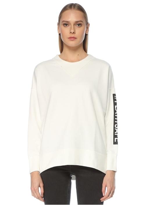 Beyaz Bisiklet Yaka Slogan Baskılı Sweatshirt