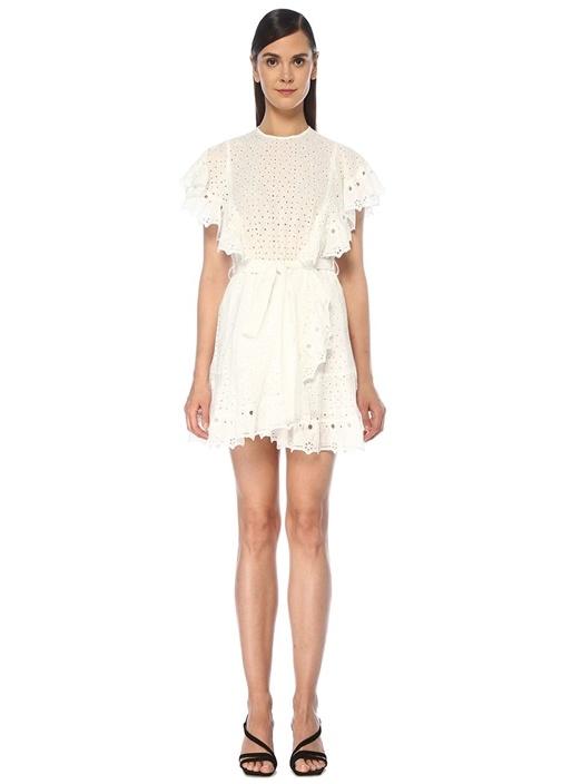 Beyaz Delikli Nakışlı Fırfırlı Mini Elbise