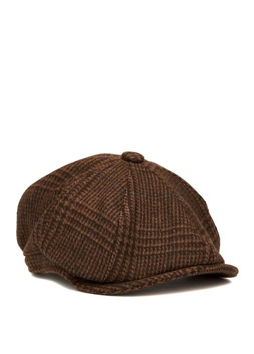 Kahverengi Ekose Desenli Erkek Şapka