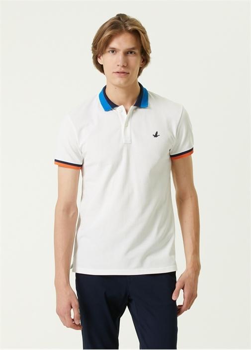 Slim Fit Beyaz Polo Yaka Renkli Ribli T-shirt