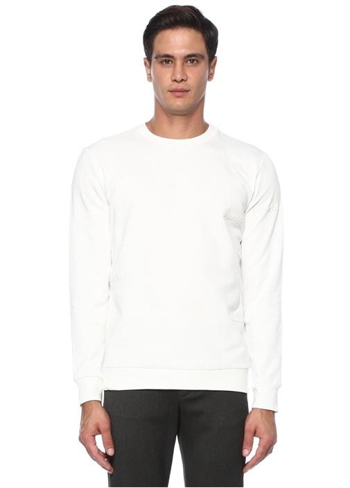Beyaz Slogan Nakışlı Basic Sweatshirt