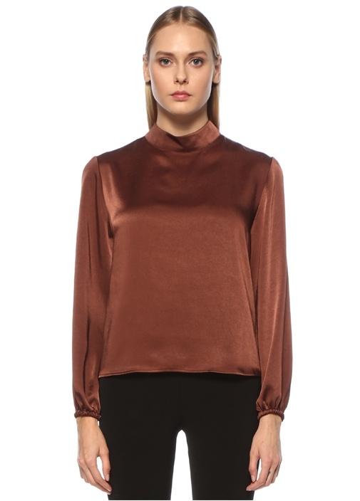 Kahverengi Dik Yaka Uzun Kol Saten Bluz