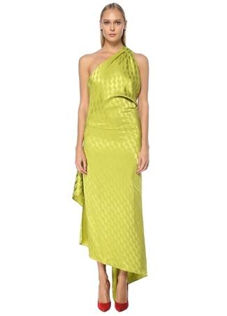 The Attico Kadın Bea Yeşil Tek Omuz Monogram Desenli Midi Elbise 38 IT