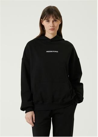 Freedom of Space Kadın Archive Siyah Kapüşonlu Logolu Sweatshirt XS EU