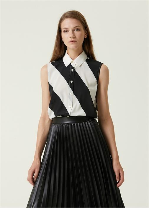 Siyah Beyaz Çizgili Kolsuz İpek Gömlek