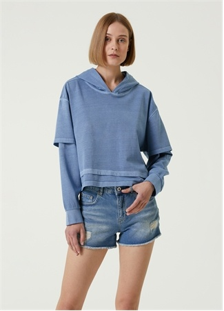 Academia Kadın Mavi Kapüşonlu Garnili Sweatshirt S